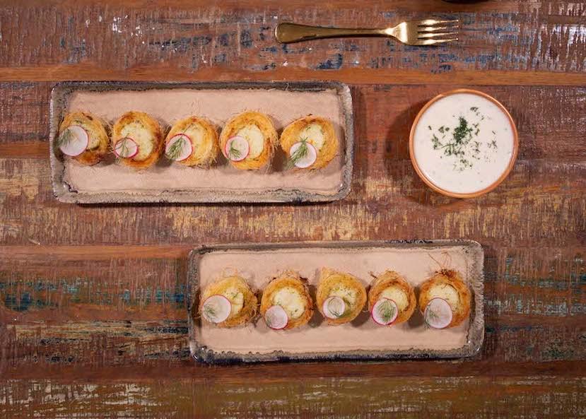 Χτένια τυλιγμένα με κανταΐφι μαριναρισμένα με λικέρ πορτοκάλι